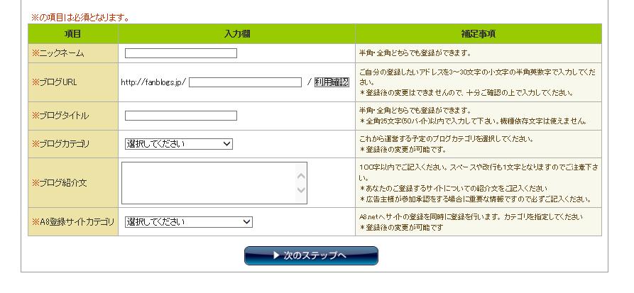 ファンブログ登録フォーム